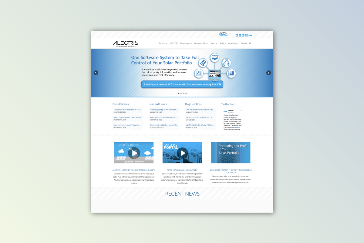 Alectris website development and design
